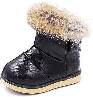 KVbabby Bambine e Ragazze Carino Stivali da Neve Morbide Fodera Calda Stivali Scarpe di Cotone Piatto Pelliccia Stivali 27...