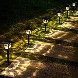 LeiDrail Solarleuchte Garten Solarlampen für Außen Glas Solar Gartenleuchte Metall LED Warmweiß Licht Gartendeko Wegeleuchte Wasserdicht für Deko Terrasse Weg Hof Rasen 6 Stück