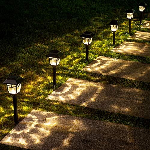LeiDrail Solar Pathway Gartenleuchten LED-Außenbeleuchtung Solarbetriebene Dekorleuchten Wasserdichtes Glas Solar Flammenlicht für Hinterhof Patio Hofweg mit Ground Spike Warmweiß- 6Stück