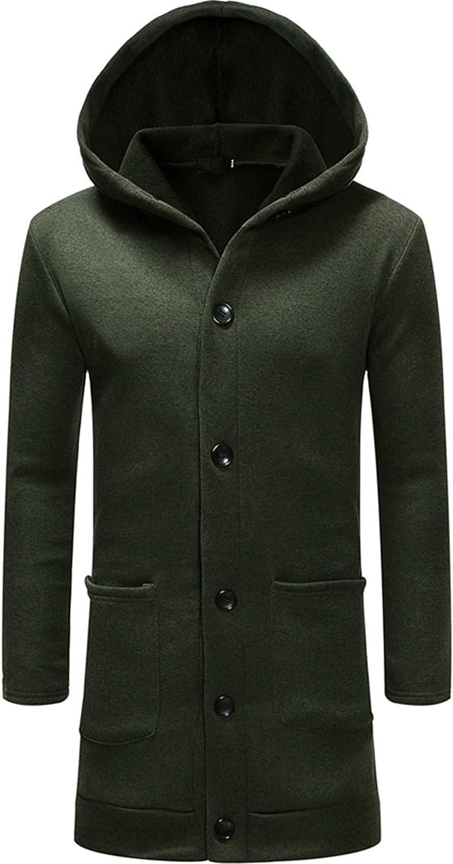 FORUU Long Jacket For Men 2021,Fall Winter Long Overcoat Solid Windbreaker Hoodie Fashion Mens Winter Coats Light Jacket