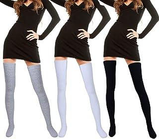 3 pares de calcetines extra largos de algodón hasta el muslo por encima de la rodilla para niñas y mujeres, 3 colores