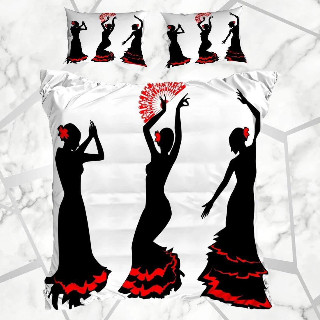 Conjuntos de funda nórdica Grace Silhouette con tres siluetas Bailaora de flamenco Gitana Ritmo Fan España Rumba Personas Tango Suave Microfibra Dormitorio decorativo con 2 fundas de almohada: Amazon.es: Hogar