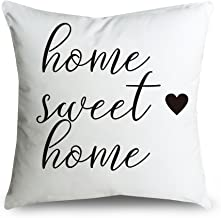 FabricMCC Throw Pillow Cover 46cm Quote Words Square Decorative Cushion Cover Throw Pillowcase for Couch (home sweet home)