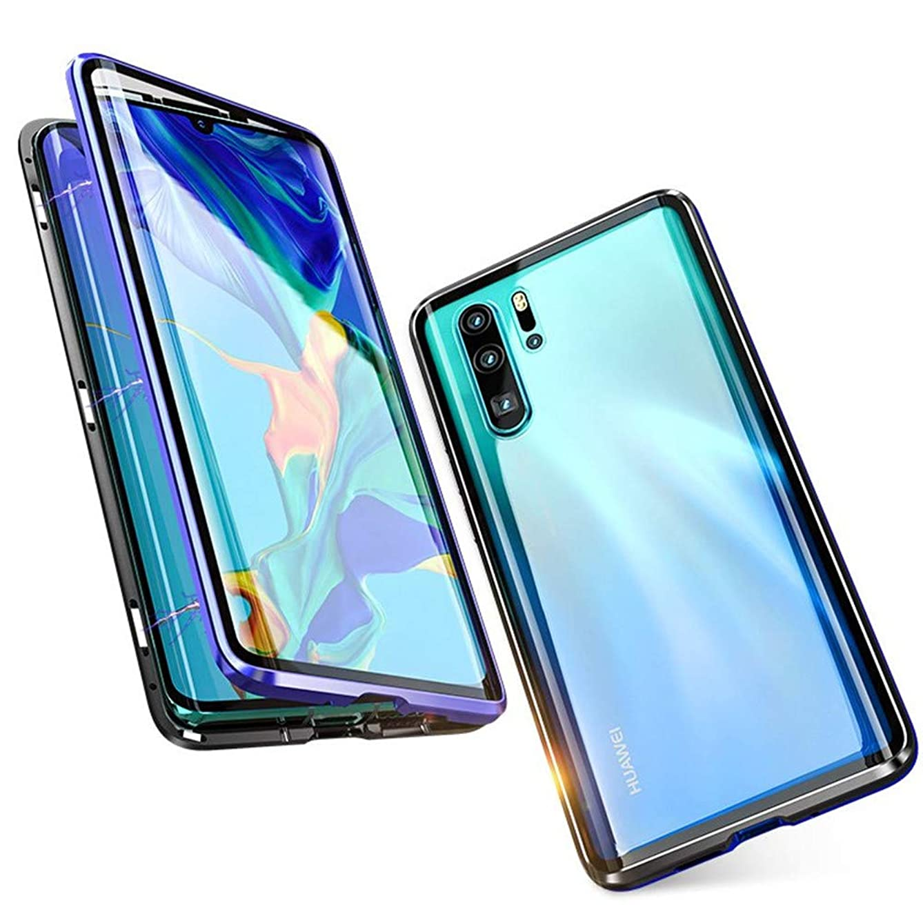 HIKERCLUB Huawei P30 Pro Magnetic Case Full Body Protection Metal Glass Flip Built-in Screen Protector Front and Back 9H Tempered Glass Clear Touchable HD Cover for Huawei P30 Pro (Blue)