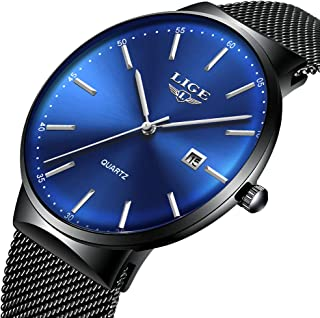 Mens Watches,LIGE Watches for Men Fashion Sports Waterproof Stainless Steel Mesh Wristwatch Men Bussiness Dress with Date Full Blue Analog Quartz Watch Man