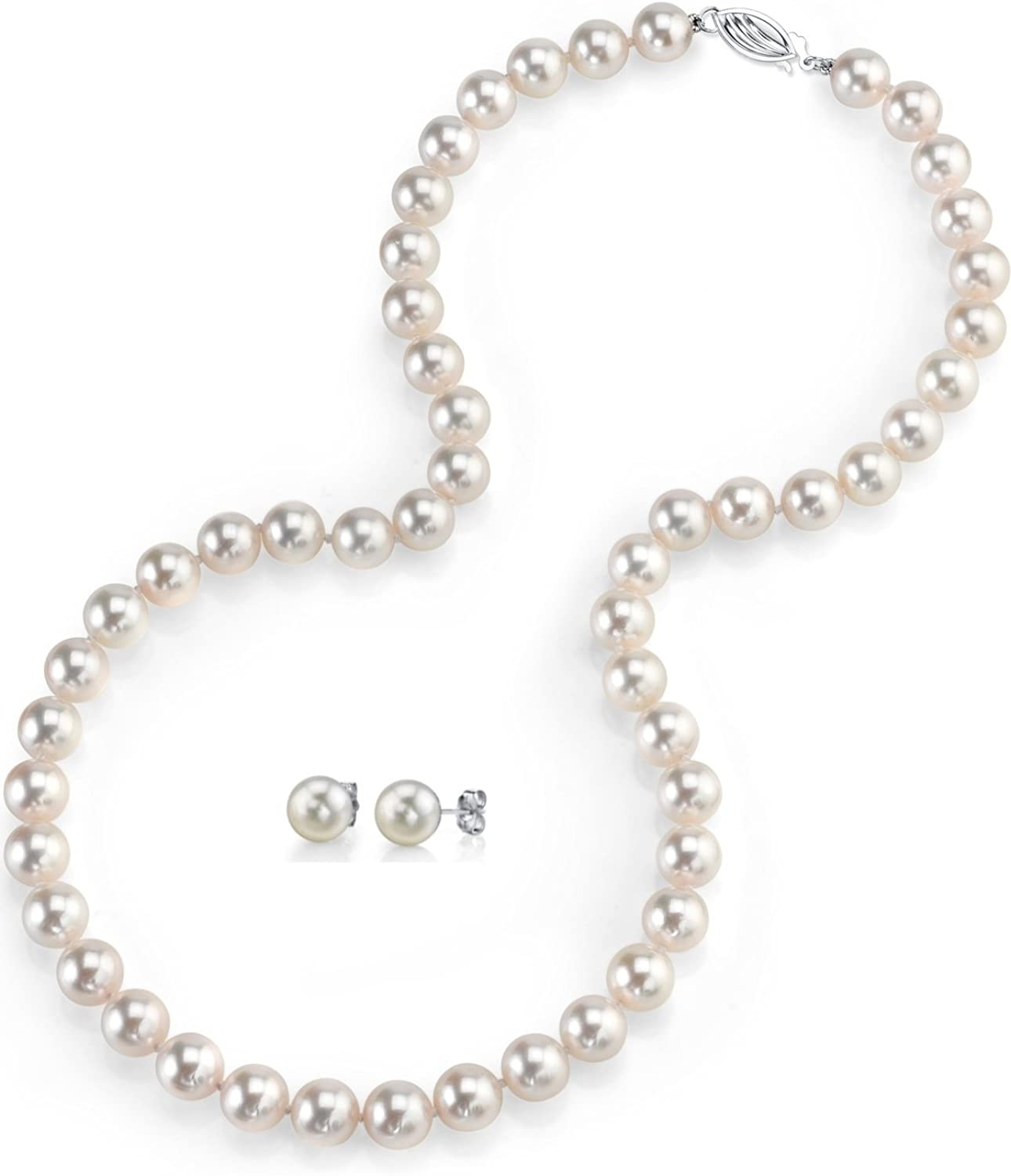THE PEARL SOURCE 14K Gold AAAA Quality Round White Freshwater Cultured Pearl Necklace & Earrings Set in 18