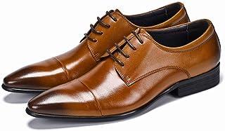 Enjoy4Beauty - Zapatos de vestir para hombre de negocios británicos en punta (color: marrón, talla: 46)