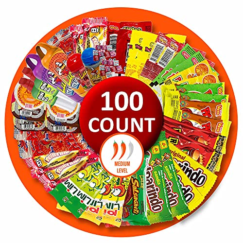 Mexican Candy Mix Assortment Bag (100 count) Variety of Spicy, sour and sweet Dulces Mexicanos Gift Box, Best sellers Such as Lucas, Pelon, Duvalin, Rockaleta, salsaghetti, Pulparindo, Mazapan By Vexillum (Spicy)