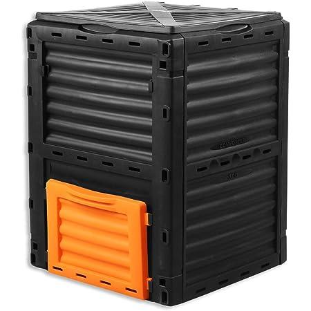 Fuxtec Composteur de Jardin capacité 300L FX-KOMP300 résistant aux intempéries 82x61x61cm Couvercle Pliable bac à Compost