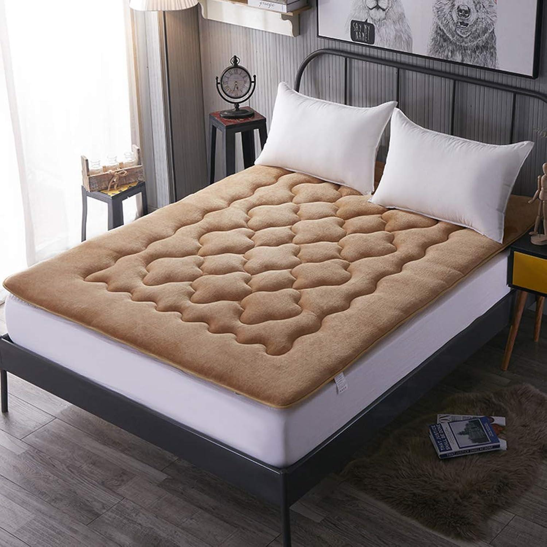 Flannel Mattress, Japanese futon Mattress, Tatami Floor mat Antibacterial Anti-mite Breathable Sleeping pad Microfibre Topper-Light tan 90x200cm(35x79inch)