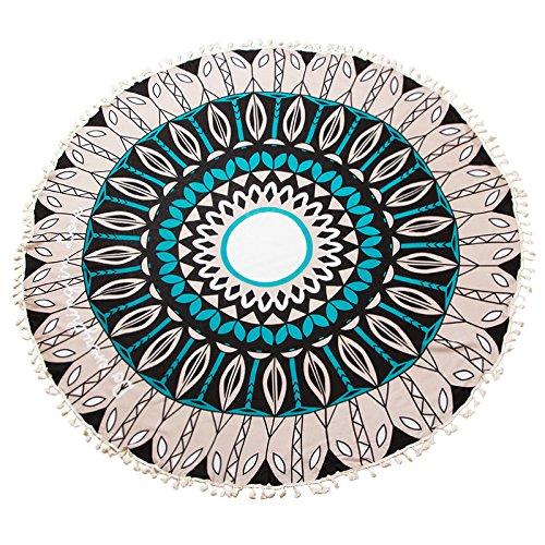 MCZWJ sjaal XXL ronde sjaal dames strandhanddoek oversized katoen met kwast badhanddoek decoratieve zonwering sjaal 150 cm