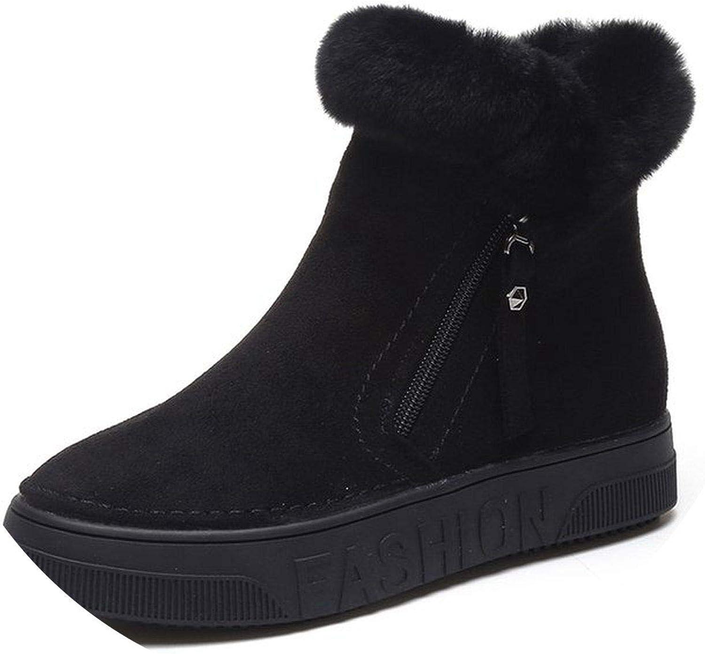 Women's Winter Ankle Boots Flock Platform Snow Boot Plush Sneakers Flat Boots Woman Footwear
