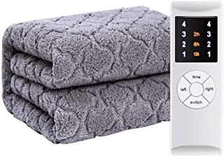 Premium komfort täcke, elkast | supermjuk täcke | sofftäcke | dubbel värmekontroll | Auto Over Heat Protection | grå (stor...