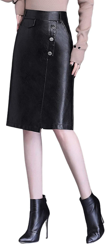 CHARTOU Women's Elegant Back-Elastic PU Leather Irregular Slit Midi Pencil Skirt