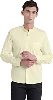 BEING FAB Men's Solid Casual Yellow Shirt