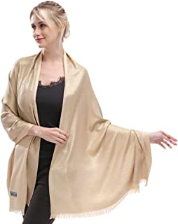 Women's Sparkling Metallic Soft Pashmina Shawls and Wraps Scarf in Solid Colors