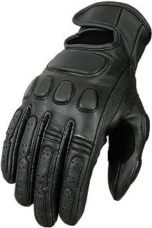 Bikers Gear Australia Premium Soft Fit Leather Classic Roadster Motorcycle Gloves, Black, Size L