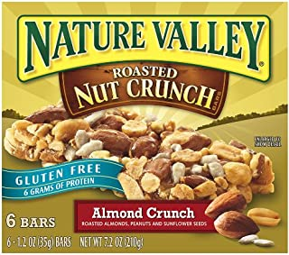 Nature Valley Gluten Free Roasted Nut Crunch Granola Bars, Almond Crunch, 7.2 Ounce (Pack of 6)