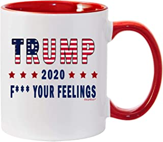 Shop4Ever Funny Trump Mug ~ Trump 2020 F Your Feelings Ceramic Coffee Mug Tea Cup ~ (Red Handle, F Ur Feels)