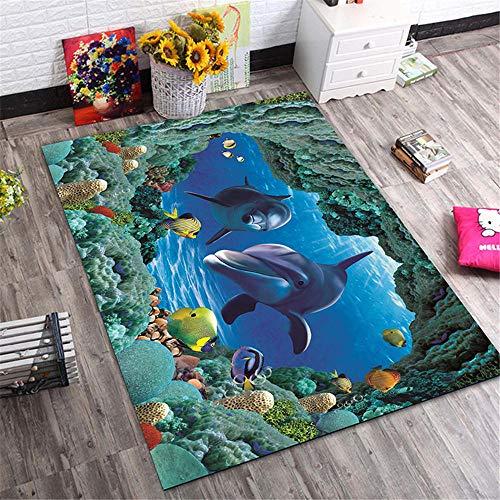 Kunsen Kinderzimmer Teppich Ocean Unterwasserwelt Tiermuster Schlafzimmer Teppich ist langlebig und pflegeleicht Kinderteppiche Jungs Teppich Mädchen Jugendzimmer blau 80X120CM