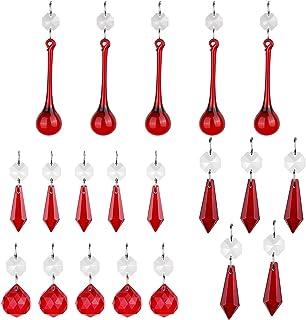 H&D Colgante de cristal rojo con forma de carámbanos y bola de prismas para lámparas, portavelas de cortina, piezas de bricolaje, paquete de 20