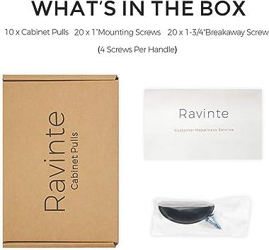 "Ravinte 10 Pack 3"" Drawer Pulls Flat Black Cabinet Cup Pulls Kitchen Hardware Cabinet Handles Drawer Handles Knobs 3 inch"