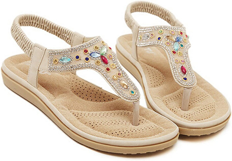 San hojas Sandals with Gemstone Flat Flip Flop Summer Style Apricot