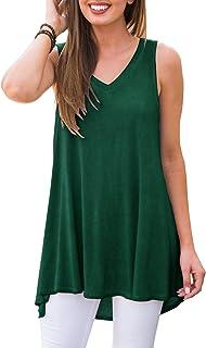 AWULIFFAN Women's Summer Sleeveless V-Neck T-Shirt Tunic Tops Blouse Shirts