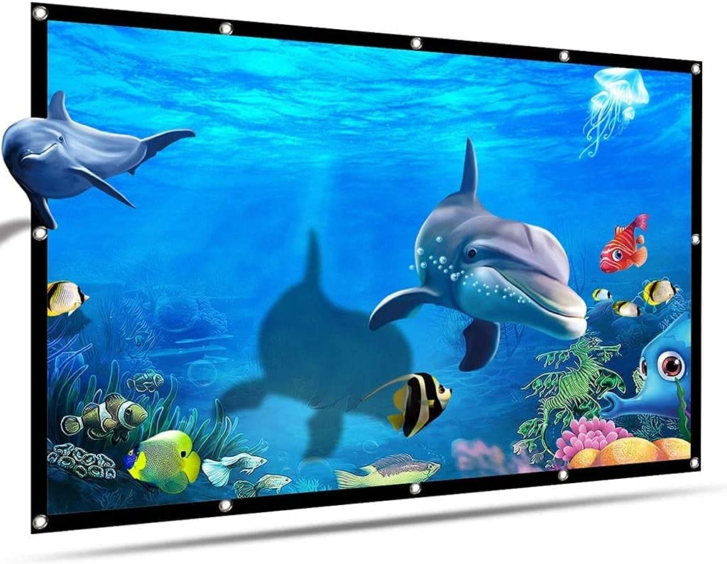 HGSDKECFS Portable Projection Screen 60/72/84/100/120/150 Inch Portable HD Projector Screen 16:9 Projection Screen Foldable Thick Durable for Outdoor Home Theater