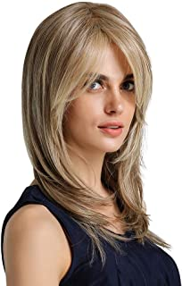 White Classic Blonde Wig Curly None Lace Front Wig Long Straight Wigs Synthetic Hair Replacement Wig Ombre 2 Tone for Women