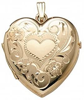 PicturesOnGold.com 14K Gold Filled 4-Page Photo Heart Locket - 1-1/4 Inch X 1-1/4 Inch