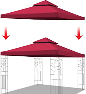 YardGrow Double Tier Replacement Cover for 10'X10' Gazebo Canopy Top Patio Pavilion Cover Sunshade Polyester (Burgundy)