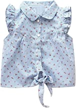 Verypoppa Kids Girls Summer Blouse Floral Print Fly Sleeve Button Up Tie Shirt Top