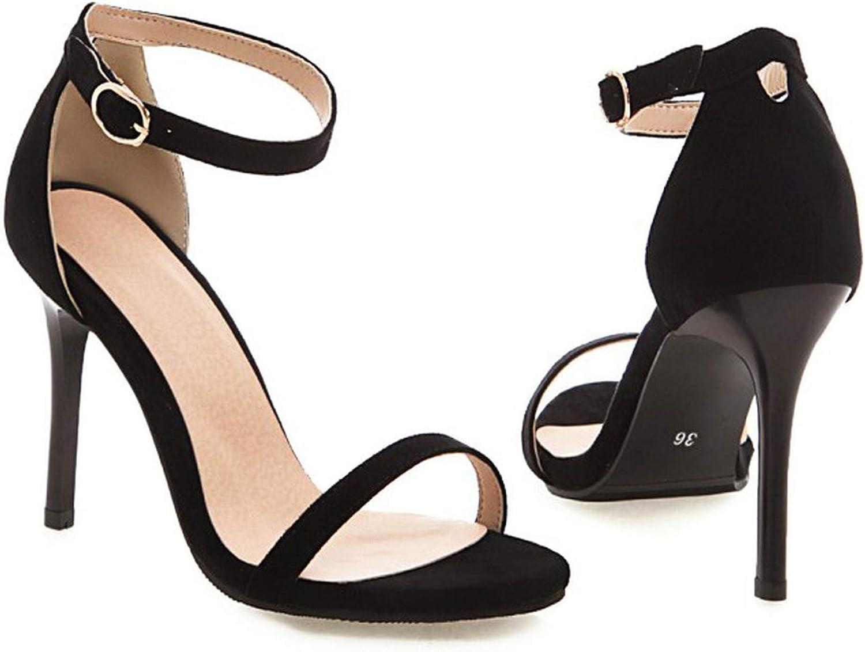 Women's Sandals Summer Fashion Flock Solid Open Toe Buckle Fine Heel High Heel Women's shoes