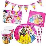 Gxhong Set Stoviglie Disney Principessa Festa di Fornisce, Compleanno Stoviglie Decorazione Festa Principessa Piastra Tazza Forchetta Cucchiaio Tovaglia, può Ospitare 10 Ospiti