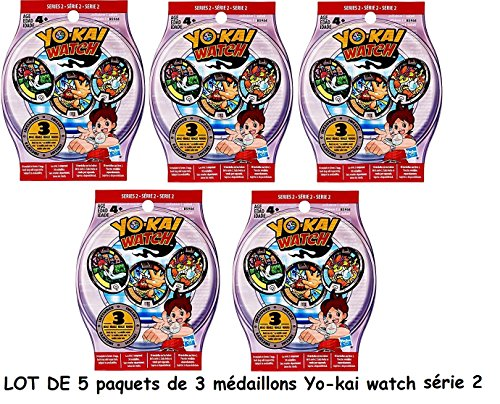 Channeltoys - Yo-kai watch - 5 Blind Bag yokai medals series 2 - 15 medals random yokai watch