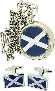 Boxx Scotland Scottish Pocket Watch on a 12 Inch Chain + Cufflinks Xmas Gift Set