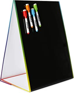 """Tabletop Magnetic Easel & Blackboard with Chalkboard Design (2 Sides) 16 X 12.5"""" Includes: 4 Chalk Markers Drawing Art Black Board Educational Kids Toy"""