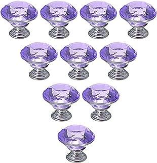Dresser Knobs, YIFAN 10Pcs 30mm Crystal Glass Diamond Shape Cabinet Knobs Cupboard Drawer Pull Handles - Purple