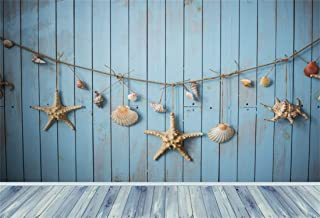 Yeele Nautical Photo Backdrop 5x3ft Navigation Photography Background Sea Blue Wooden Plank Shell Wood Floor Starfish Conch Ship Life Pictures Baby Adult Artistic Portrait Photoshoot Prop Wallpaper