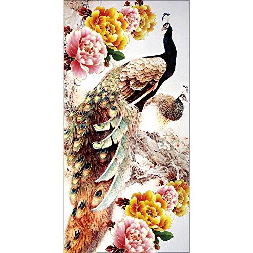 DIY 5d Diamond pintura por número Kit,Cuadros punto de cruz kit artes manualidades de punto de cruz bordado brillantes y espíritu de pavo real lienzo para decoración de la pared,5D diamond painting