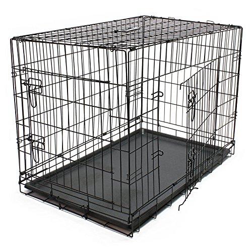 Wiltec Klappbarer Transportkäfig Kennel aus Draht für Kleintiere Gittertransportbox Größe L