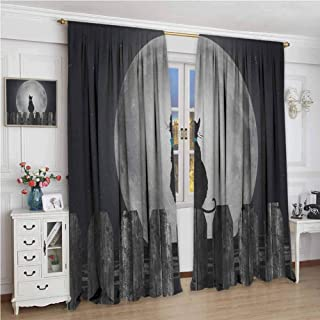 zojihouse Moon Silhouette of a Cat Looking to Full Moon While Sitting on The Fence Animal Window Draperies Black Pale Grey Blue Noise Reducing Curtain W84xL96