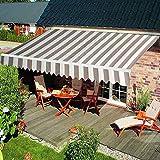 [page_title]-HENGMEI Aluminium Markise Klemmmarkise Balkonmarkise Sonnenschutz Kassettenmarkise Gelenkarmmarkise Sonnensegel (360 * 300cm, Beige)