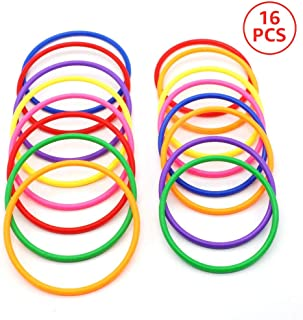 C-pop Rings for Ring toss,16Pcs Multicolor Plastic Toss Rings for Speed and Agility Practice Games,Carnival Garden Backyard, Outdoor Games,Toss Ring Game