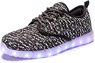 6KZMNA0Z0A New Coconut Light Shoes Male Flying Woven led Lights Shoes USB Rechargeable Colorful Shoes