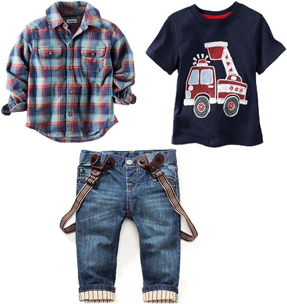LUKYCILD Baby boy Suit Plaid Shirts+car Printing t-Shirt+Jeans 3pcs