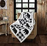 Quilted Sherpa Throw Blanket by Virah Bella - 50' x 60' Buffalo Plaid Black Lightweight Throw Quilt Great for Loungers & Extra Bedding - Beautiful Lodge-Themed Blanket