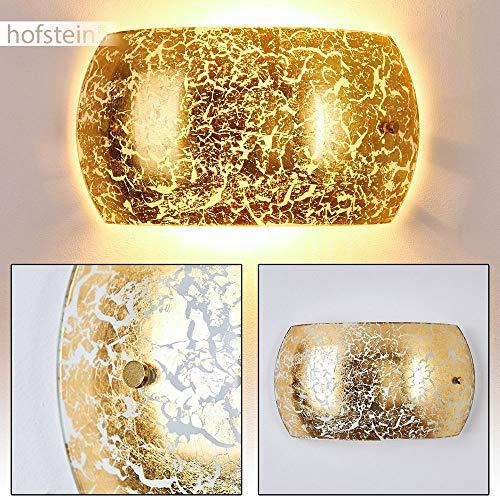 Wandlampe Pilar in Gold/Weiß, moderne Wandleuchte aus Glas mit Lichteffekt, 2 x E14-Fassung, max. 40 Watt, Innenwandleuchte mit Up & Down-Effekt in Blattgold-Optik, geeignet für LED Leuchtmittel