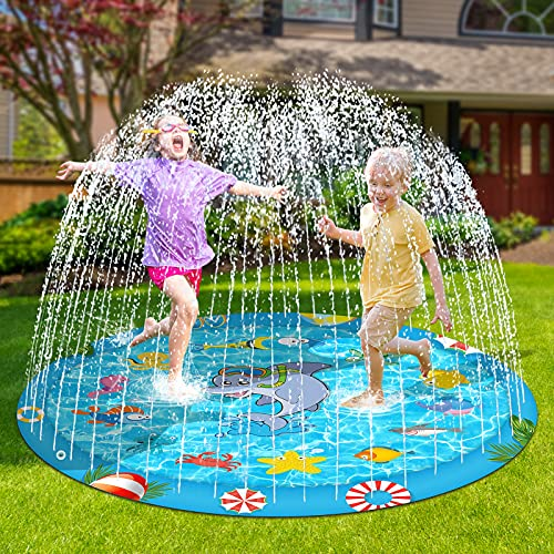 Perglad Splash Pad, 68'' Sprinkler for Kids Toddlers Outdoor Water Toys for 4-9 Year Old Boys Girls, Kiddie Baby Pool for Outside Fun Summer Party Gifts for 3-12 Year Old Girls